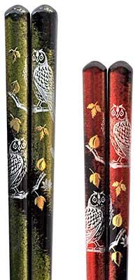 Lacquered chopsticks - Gold Leaf Owl